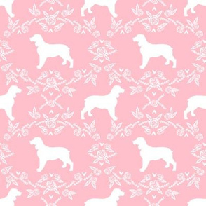 English springer spaniel floral silhouette fabric pattern pink