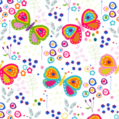 Colorful butterfly and abstract flowers pattern illustration