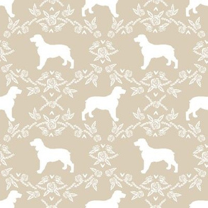 English springer spaniel floral silhouette fabric pattern sand