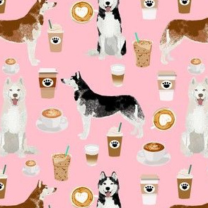 husky fabric siberian huskies and coffees fabric dogs design - pink