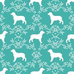 English springer spaniel floral silhouette fabric pattern turquoise