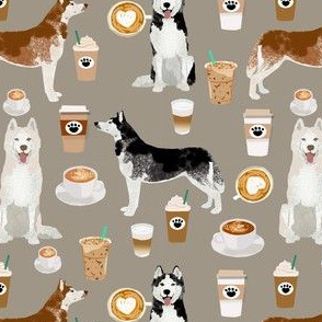 husky fabric siberian huskies and coffees fabric dogs design - medium brown