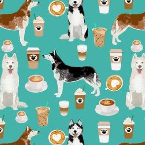 husky fabric siberian huskies and coffees fabric dogs design - turquoise