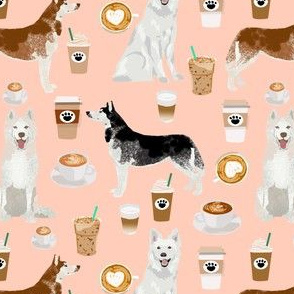 huskies and white shepherd fabric coffees - blush