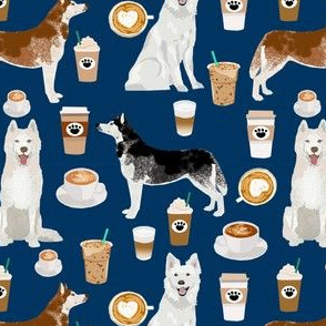 huskies and white shepherd fabric coffees - navy