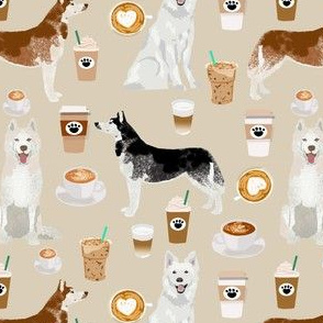 huskies and white shepherd fabric coffees - sand