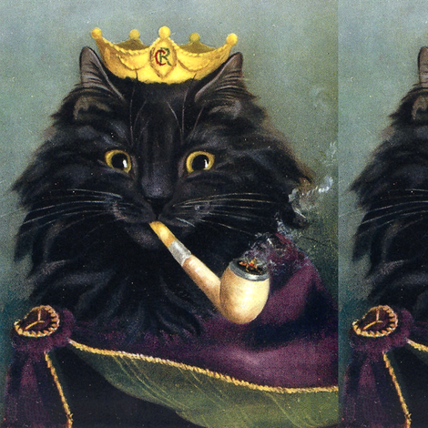 black cats persian Maine Coon kings emperors royalty princes crowns Tobacco pipes smoking smoke vintage retro Anthropomorphic whimsical animals fabric by raveneve on Spoonflower - custom fabric