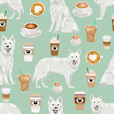 white shepherd fabric white german shepherds and coffees design - mint