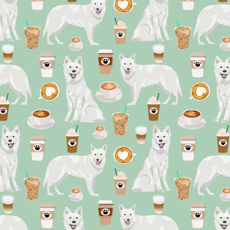 white shepherd fabric white german shepherds and coffees design - mint fabric by petfriendly on Spoonflower - custom fabric