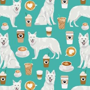 white shepherd fabric white german shepherds and coffees design - turquoise