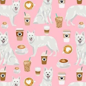 white shepherd fabric white german shepherds and coffees design - pink