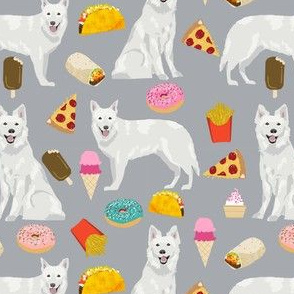 white shepherd fabric white german shepherds and junk food design - grey