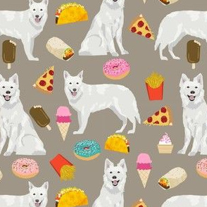 white shepherd fabric white german shepherds and junk food design - medium brown