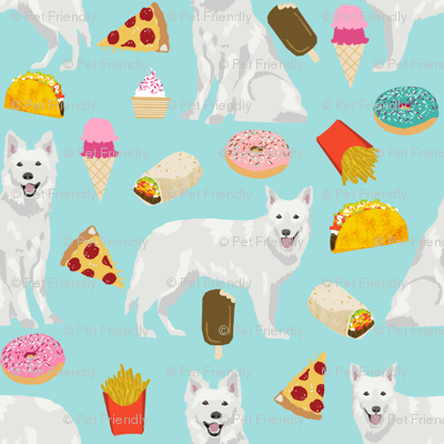 white shepherd fabric white german shepherds and junk food design - light blue