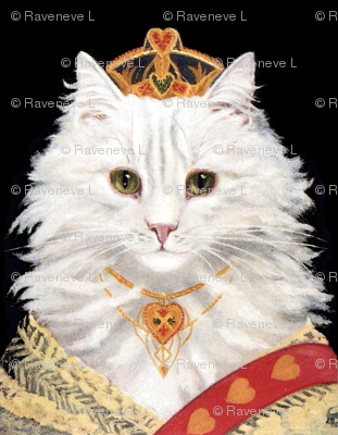 Persian cats white princesses queens empress tiaras crowns royalty sashes hearts necklaces vintage retro Anthropomorphic whimsical animals