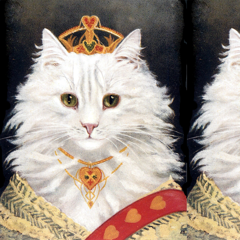 Persian cats white princesses queens empress tiaras crowns royalty sashes hearts necklaces vintage retro Anthropomorphic whimsical animals fabric by raveneve on Spoonflower - custom fabric