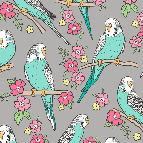 Budgie Birds With Blossom Flowers on Grey fabric by caja_design on Spoonflower - custom fabric