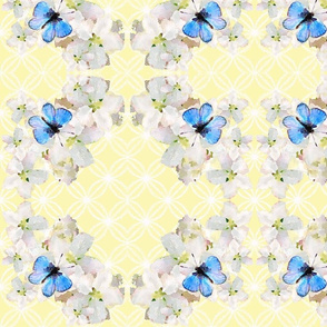 Blue Butterfly on white Floral Moroccan Lattice and Lemon Yellow Background