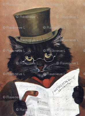 black cats Victorian gentleman gentlemen top hats reading newspapers walking canes spectacles cravat vintage retro Anthropomorphic  whimsical animals