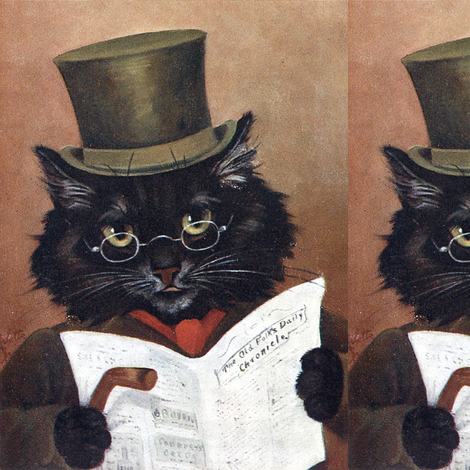 black cats Victorian gentleman gentlemen top hats reading newspapers walking canes spectacles cravat vintage retro Anthropomorphic  whimsical animals  fabric by raveneve on Spoonflower - custom fabric