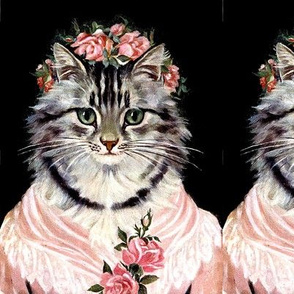 Cats Maine Coon flowers floral roses crowns shawl pink Victorian Anthropomorphic vintage retro kitsch whimsical egl elegant gothic lolita