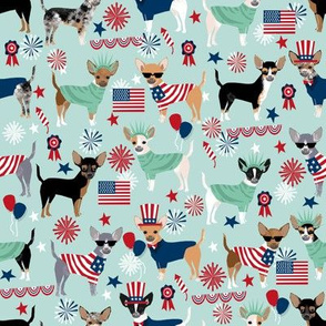 chihuahua fabric dogs design july 4th usa fabric - light