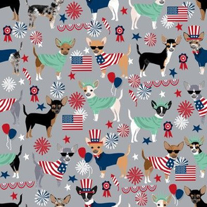 chihuahua fabric dogs design july 4th usa fabric - grey