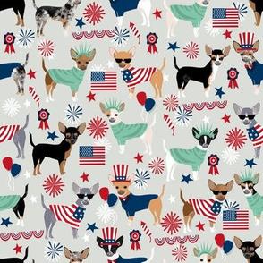 chihuahua fabric dogs design july 4th usa fabric - light grey