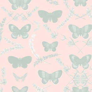 Romantic Butterfly _ light minty gray/pink