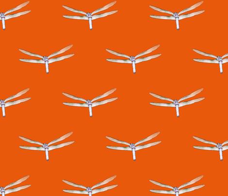 Dragonfly On Deep Orange fabric by judisjems on Spoonflower - custom fabric