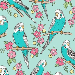 Budgie Birds With Blossom Flowers on Mint Green