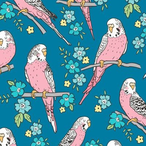 Budgie Birds With Blossom Flowers on Darker Blue