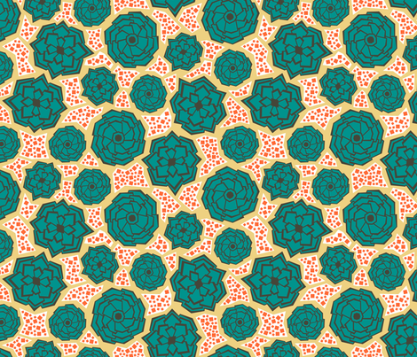 Geometric Succulents (Sunset) fabric by brendazapotosky on Spoonflower - custom fabric