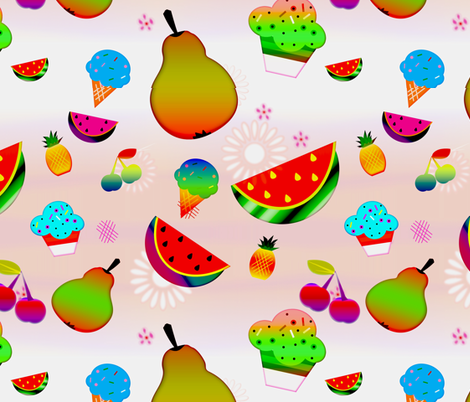 Whimsical_Watercolor_Fruits_and_others delights fabric by isabella_asratyan on Spoonflower - custom fabric