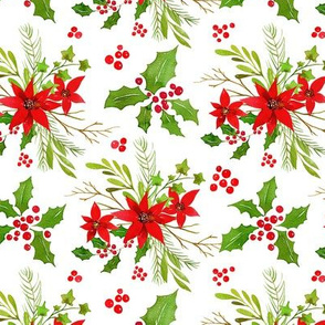Watercolor Christmas Bright Greenery Branches and Red Berries Bouquets on White Background