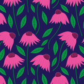 Pink Coneflowers on Navy Blue
