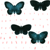 Green butterfly_peach dots