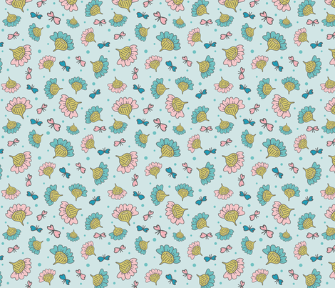 Blue Meadow with Butterflies and Flowers fabric by ruthenia on Spoonflower - custom fabric