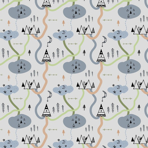 Tribal Forest Doodles in grey