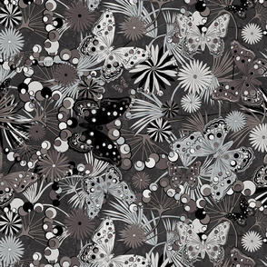 butterflies floral mix black and white