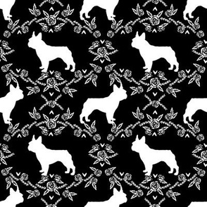 french bulldog florals silhouette frenchie dog black