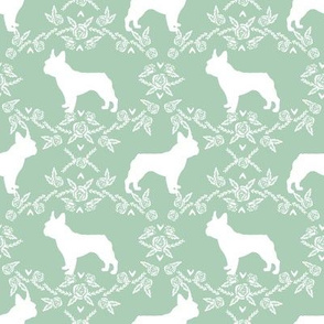 french bulldog florals silhouette frenchie dog mint