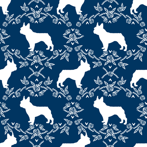 french bulldog florals silhouette frenchie dog navy fabric by petfriendly on Spoonflower - custom fabric