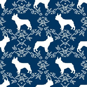 french bulldog florals silhouette frenchie dog navy