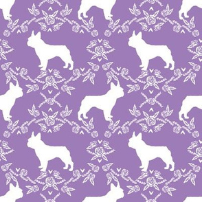 french bulldog florals silhouette frenchie dog purple