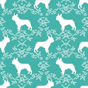 french bulldog florals silhouette frenchie dog turquoise