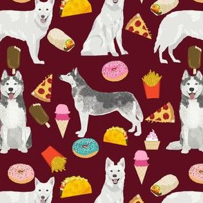 husky and white shepherd junk food custom request