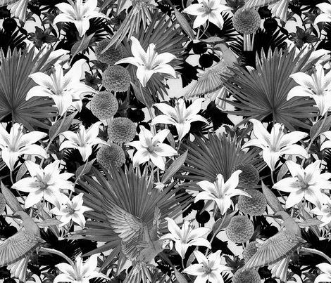 black and white lily fabric by kociara on Spoonflower - custom fabric