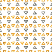 Gold and silver triangles stripes, grey and yellow  trigons