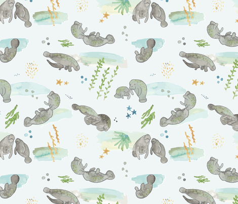 Olin's Watercolor Mama & Baby Manatees fabric by henryfarmcreative on Spoonflower - custom fabric